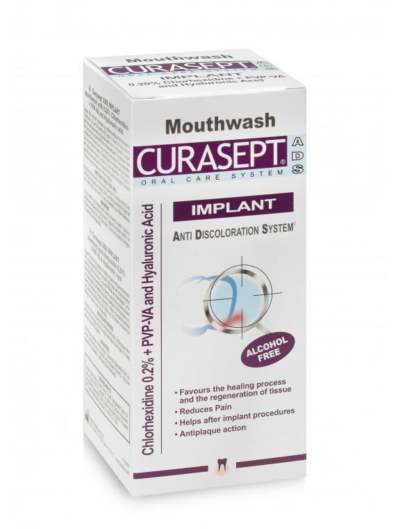 CURASEPT ADS® IMPLANT skalavimo skystis su 0.20% Chlorheksidino + PVP-VA polimerais ir  Hialurono rūgštimi